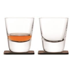 Whisky Pair of Arran tumblers with walnut coasters, 250ml, clear