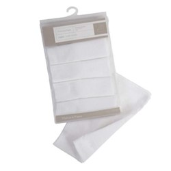 Set of 5 muslin squares, 50 x 50cm, white