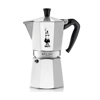 Moka Express Aluminium stovetop coffee maker (12 cup), silver