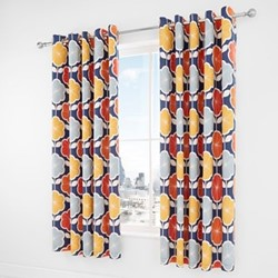 Retro Floral Curtains, 168 x 183cm, navy
