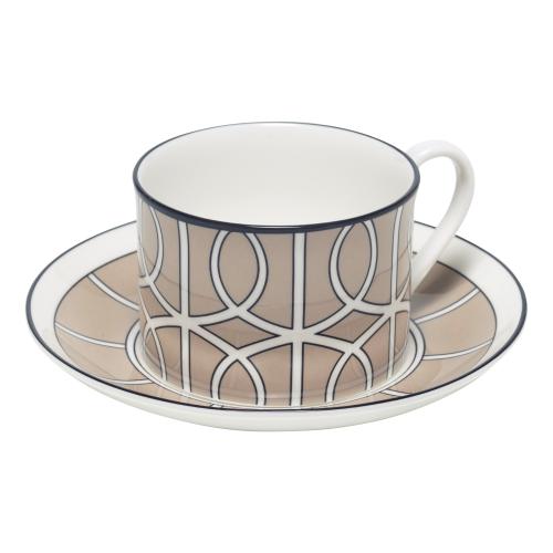 Loop Teacup and saucer, H8.4cm - Saucer 15cm, truffle/white (black rim)