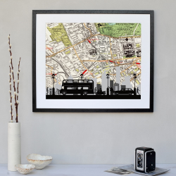 Traffic Framed silhouette image with personalised map, 43 x 48cm, Black Frame
