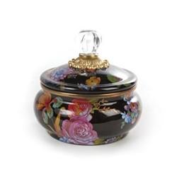 Flower Market Squashed pot, black