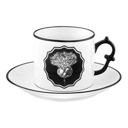 Herbariae Teacup and saucer, 15 x 7.5cm, white