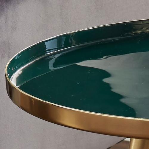 Enamel Side table, W39 x D48 x L39cm, Brass & Green
