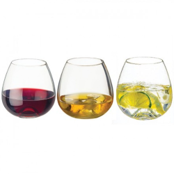 Stemless Set of 3 tumblers, 9.5cm, Clear