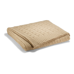 Cable cashmere Throw blanket, L60 x W60cm, natural