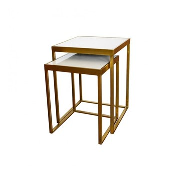 Set of 3 nesting tables, white marble/brass