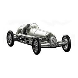 Silberpfeil Model car, H9 x W15 x L31cm, polished aluminium
