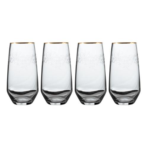 Henry Cole Set of 4 highball glasses, H15 x W16 x L16cm, Metallic Grey