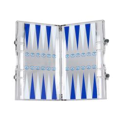 Eye Backgammon set, L35.3 x W21.4 x H4.7cm, white and blue