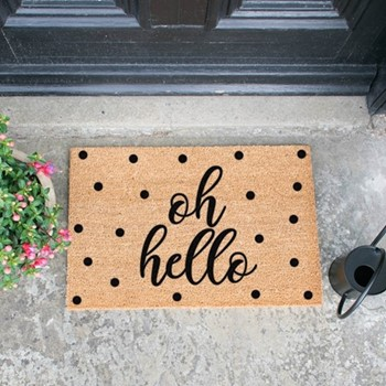 Oh Hello Doormat  , L60 x W40 x H1.5cm, black