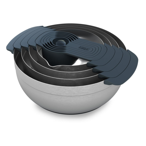 Nest 100 9 piece stacking bowl and measuring set, Brushed Stainless Steel