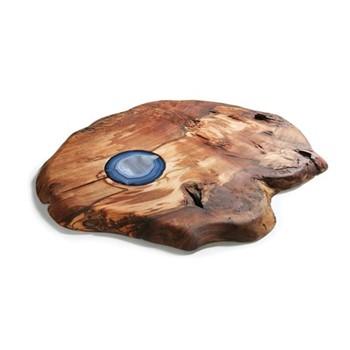 Afora Platter, L58 x W46 x H2.5cm, smoke agate, milpa burl
