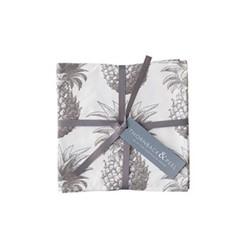 Pineapple Set of 4 napkins, 45 x 45cm, white/grey