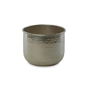 Rhuna Small round planter, D16.5 x 21cm, silver
