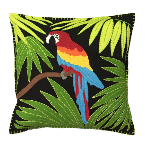Tropical Parrot Cushion, 46 x 46cm, Black