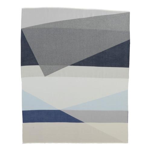 Geometric Merino throw, 190 x 140cm, Blue/Grey