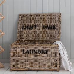 Light and dark laundry chest, 42 x 79 x 48cm, Rattan