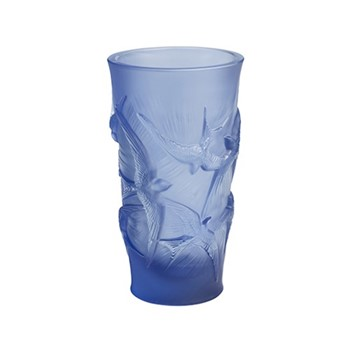 Hirondelles Vase, H15 x D8cm, blue/satin finish