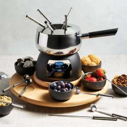 Party fondue set, 31 x 38cm, stainless steel and black glaze