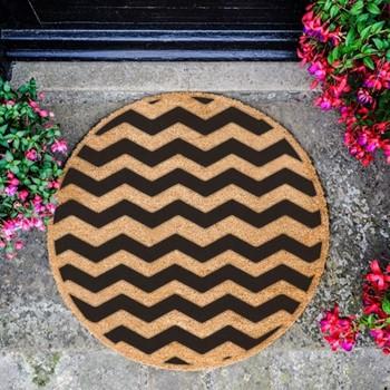 Chevron Circle Doormat , L70 x W70 x D1.5cm, natural/black