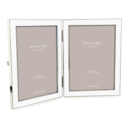 """Contemporary Enamel Double photograph frame, 5 x 7"""", White With Silver Plate"""