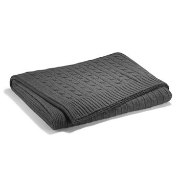 Cable cashmere Throw blanket, L60 x W60cm, modern charcoal
