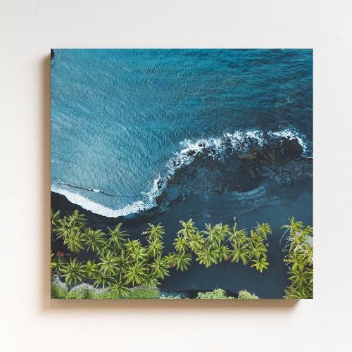 Black Sand Beach Mounted print, H51 x W51cm, Perspex