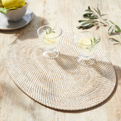 Oval rattan charger, W48 x L36cm, White Washed