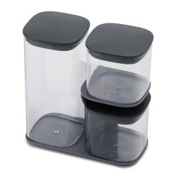 Podium 3-piece storage jar set with stand, Grey