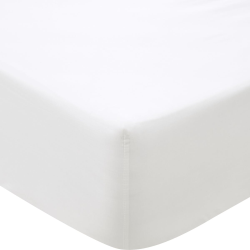 500TC Cotton Sateen Double fitted sheet, 137 x 190cm, Snow