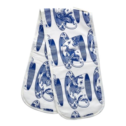 Teacup Oven glove, 20 x 84cm, White/Delft Blue