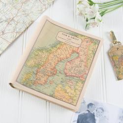 Medium photo album with personalised map cover, 25 x 22 x 5cm