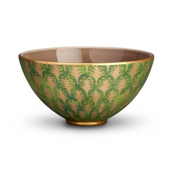 Fortuny Piumette Bowl, 23 x 11cm, gold/ green