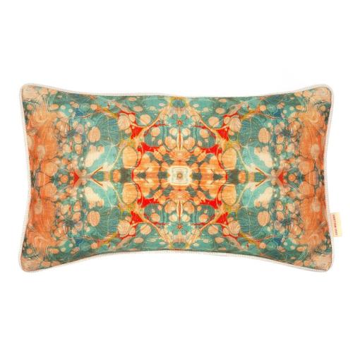 Fantasy tapestry kaleidoscope Rectangular linen cushion, L55 x W30cm, Green