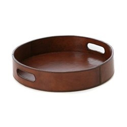Round drinks tray, Dia30 x H5cm, tan leather