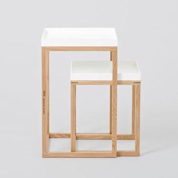 Pair of nest tables, H58.5 x W36 x D36cm, white/oak
