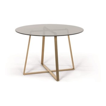 Haku Large round dining table, H75 x W110 x D110cm, brass and smoked glass