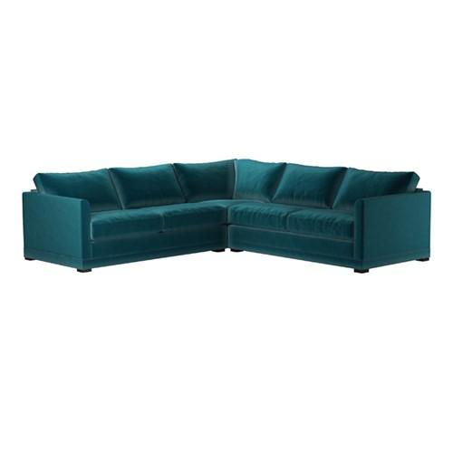 Aissa Medium corner sofa, H91 x W267 x L267cm, Deep Turquoise