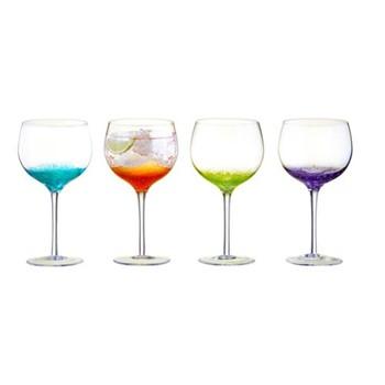 Fizz Set of 4 gin glasses, W15 x H22cm, multi coloured