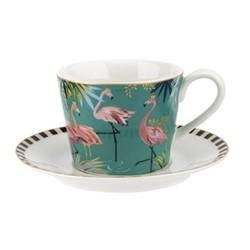 Tahiti - Flamingo Teacup & saucer, turquoise