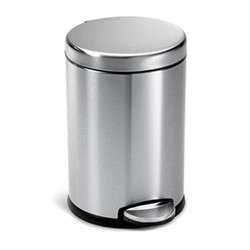 Round pedal bin, H31cm - 4.5 litre, brushed stainless steel