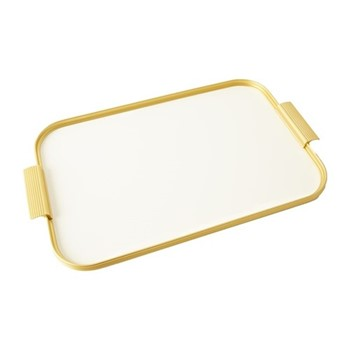 Ribbed serving tray, L46 x W30cm, white