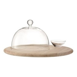 Serve Cheese set with base, 40cm, glass/oak