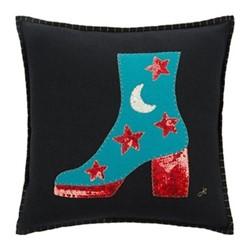 Glam Rock Cushion, Sequin Boot, 40 x 40cm, black