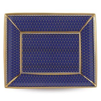 Antler Trellis Trinket tray, 20 x 15.5cm, midnight blue and gold