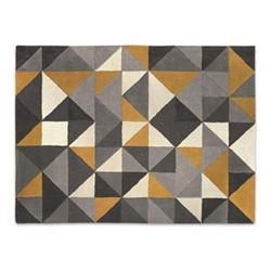 Henrik - Geometri Large wool rug, H160 x W230m, mustard and grey