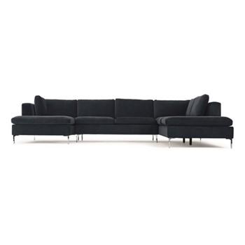 Monterosso Right hand facing corner sofa, H80 x W351 x D230cm, sapphire blue velvet