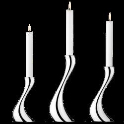 Cobra Set of 3 candleholders, 16, 20, 24cm, Stainless Steel